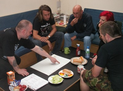 Working on the set list with the band.